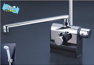*KVK水栓金具* KF3008RR3 300mmパイプ仕様 可変ピッチ式サーモスタットシャワー 右ハンドル仕様 デッキ形〈送料・代引無料〉
