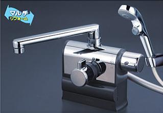 *KVK水栓金具* KF3008RS2 190mmパイプ仕様 可変ピッチ式サーモスタットシャワー 右ハンドル仕様 デッキ形 ワンストップシャワーヘッド付〈送料・代引無料〉