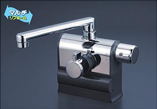 *KVK水栓金具* KM3008R 190mmパイプ仕様 可変ピッチ式サーモスタットシャワー 右ハンドル仕様 デッキ形〈送料・代引無料〉