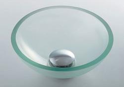 *KAKUDAI*493-028-C ガラス丸型手洗器 [クリア]