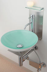 *KAKUDAI*493-033-C ガラス丸型洗面器セット [クリア]