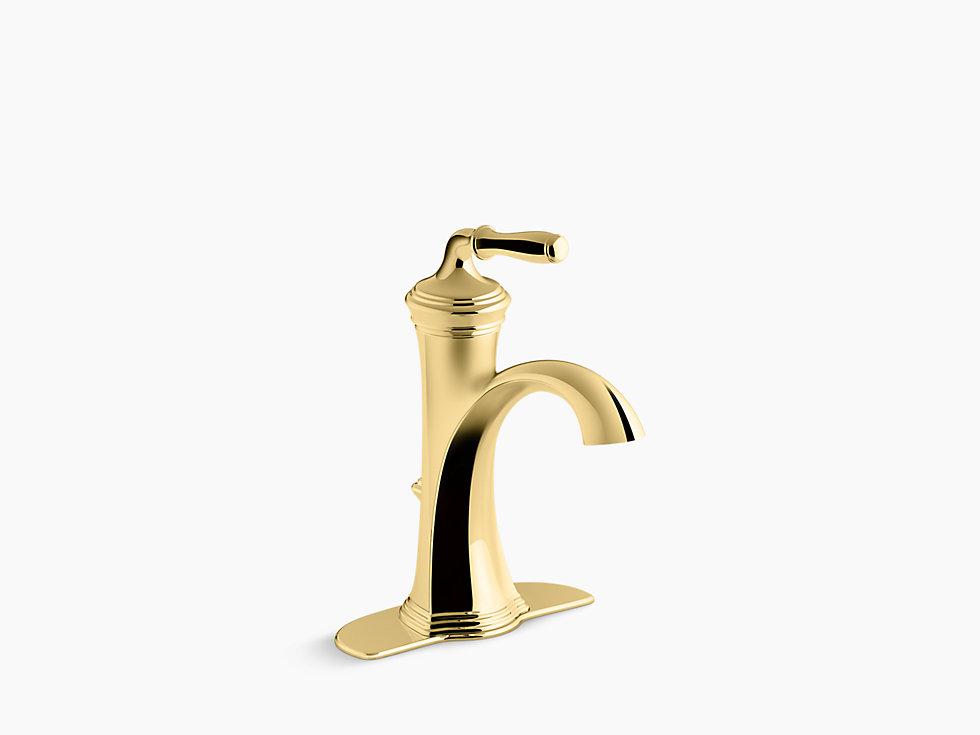 *Kohler*【正規輸入品/保証付】デボンシャー シングルレバー 洗面用水栓 K-193-4-PB バイブラントポリッシュドブラス〈送料無料〉