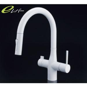 *KVK水栓金具* KM6081VECM4 浄水器専用シングルレバー式シャワー付混合栓(水栓本体のみ) キッチン用水栓 吐水口回転規制110°・80°対応 eレバー〈送料・代引無料〉