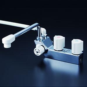 *KVK水栓金具* KF207NR3 デッキ形一時止水付2ハンドルシャワー 左側シャワー 300mmパイプ付〈送料無料・代引不可〉