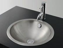 *KAKUDAI*洗面用 ステンレス丸型洗面器ヘアライン仕上げ 493-040