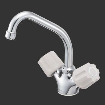 *三栄水栓*K811V-LH ツーバルブワンホール混合栓 一般地用