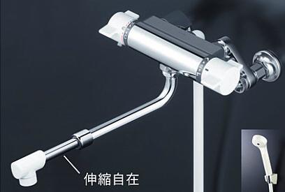 *KVK水栓金具*浴室用水栓 サーモスタット式シャワー(伸縮自在パイプ付) KF800WHASJ 寒冷地仕様【送料・代引無料】