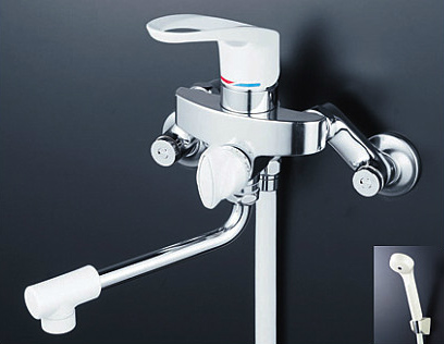 *KVK水栓金具*浴室用水栓 シングルレバー式シャワー KF5000W 寒冷地仕様【送料・代引無料】