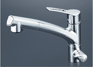 *KVK水栓金具* キッチン 浄水器付シングルレバー式シャワー付混合栓 KM5061NSCCK【送料・代引無料】