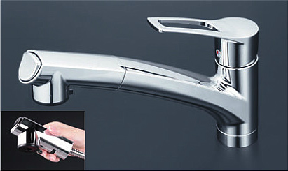 *KVK水栓金具* キッチン 流し台用シングルレバー式シャワー付混合栓 KM5021TCK 一般地用【送料・代引無料】