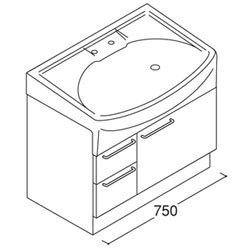 *トクラス*YTAQ075ES[W/P][SGJ1/SGG1/SGW1] 洗面化粧台 jolie ベースキャビネット 引出しタイプ 間口750mm