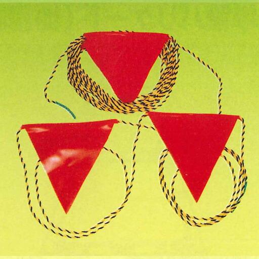 旗付トラロープ 赤(6パイ×100m)(2巻入) [送料無料]