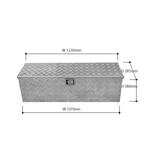 アルミス 軽トラ用アルミボックス ABX-123 (幅1230/奥行385/高さ380mm) [アルミ板厚:1.5mm]