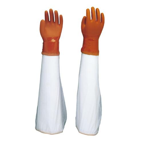 抗菌防臭裏布付手袋 腕カバ―付ニュービニローブ (60双入) NO645 ショウワグローブ