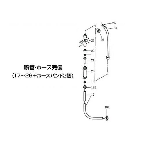 ステンレス製スプレー(SPRAYER)部品 図番17~26+ホースバンド2個 噴管・ホース完備 東亜オイル興業所 [送料無料]