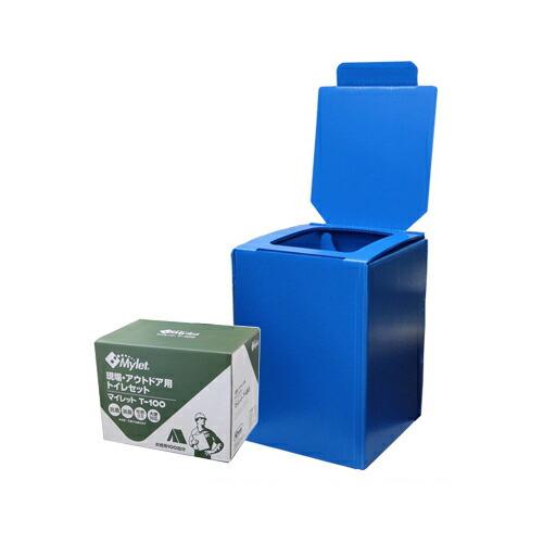 簡易トイレ プラダントイレT-100(組立式便座/トイレ処理剤100回分) まいにち [送料無料]