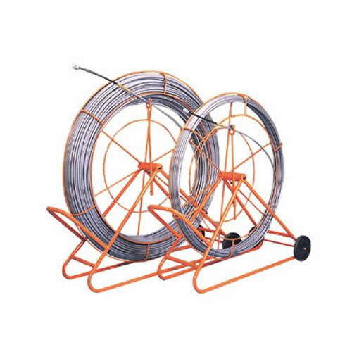 【送料無料】管内用通線工具 シルバーグラスライン(線径φ14mm 長さ300m) GL-1430RS ジェフコム[フレーム付 FRP製/PP被覆タイプ DENSAN]