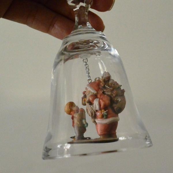 クリスマス イタリア DOLFI社製 クリスタルガラス ディナーベル サンタと少年 高さ17cm 送料無料