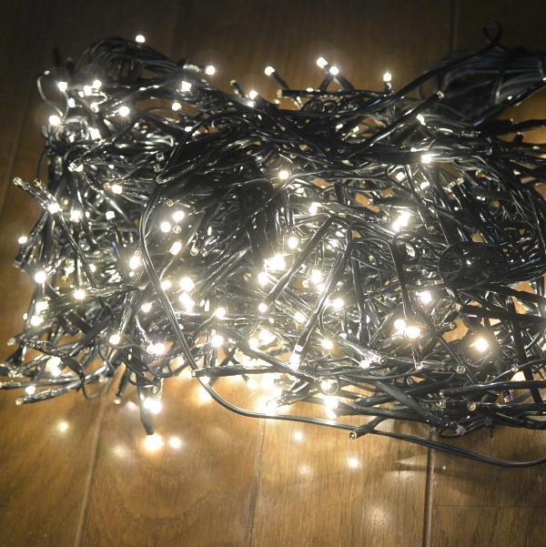 クリスマス イルミネーション LED クラッカーライトセット 480球 8種類の点滅パターン 3m コード色 グリーン 送料無料