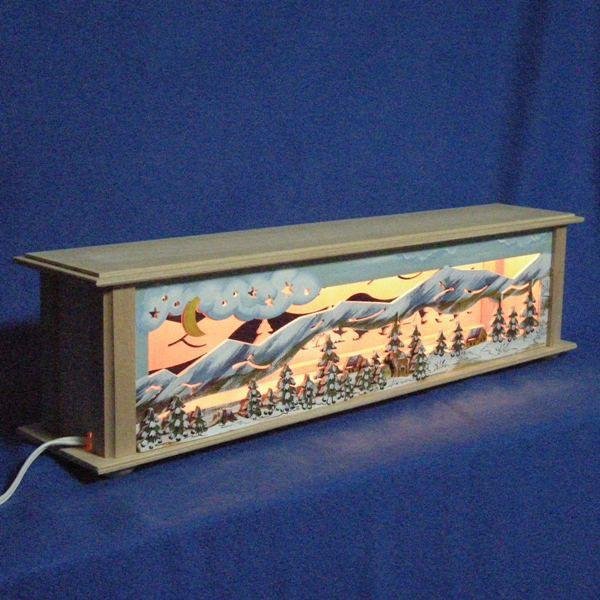 ドイツ製 クリスマスインテリア 装飾 置物 木製 光の窓飾り ボックス 高さ14cm 送料無料