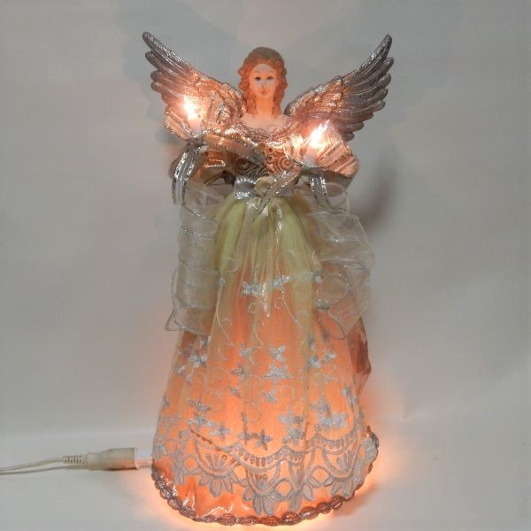 エンジェル オーナメント クリスマスツリートップ 高さ44cm ライト点灯 Kurt Adler platinum angel treetop 送料無料