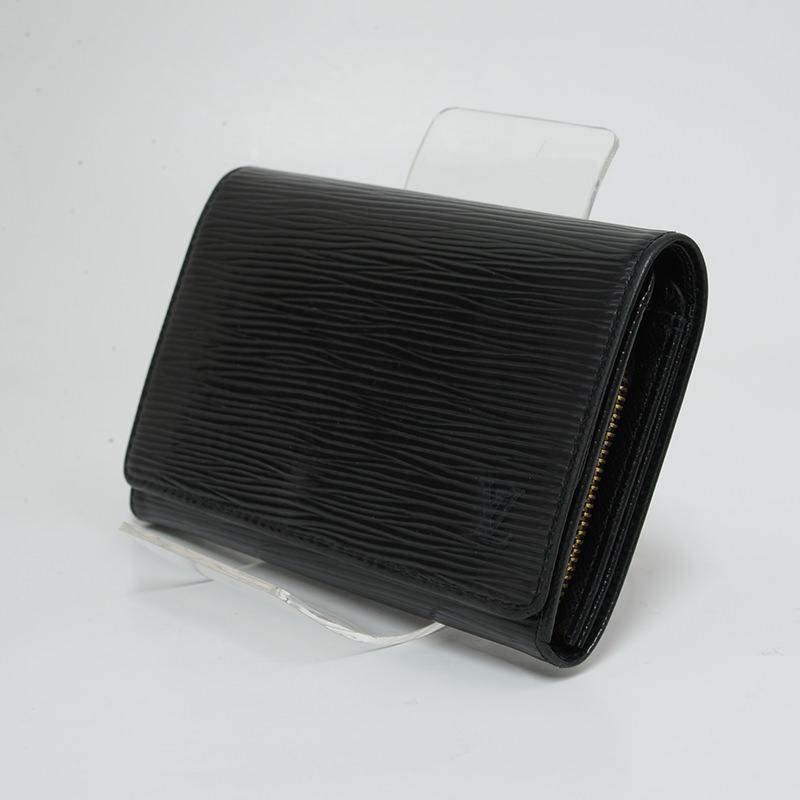 ルイヴィトン ポルトモネビエ トレゾール L字ファスナー 二つ折り 財布 エピ ノワール レザー M63502 LOUISVUITTON 【新着】【オススメ】【中古】