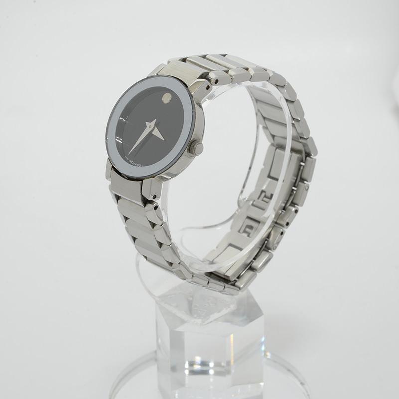 モバード ブラックダイアル レディースクォーツ ステン 腕時計 MOVADO【新着】【オススメ】【中古】