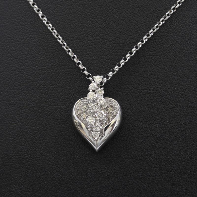 ダイヤ ハートモチーフ ネックレス K18WG 0.73ct 45cm【新着】【オススメ】【中古】