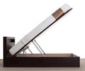 お客様組立 開閉タイプが選べる跳ね上げ収納ベッド Grand L グランド・エル 薄型プレミアムボンネルコイルマットレス付き 縦開き シングル 深さラージ(代引不可)