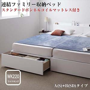 収納ベッド 連結ベッド ファミリー 分割ベッド Weitblick ヴァイトブリック スタンダードボンネルコイルマットレス付き A(S)+B(SD)タイプ ワイドK220(代引不可)