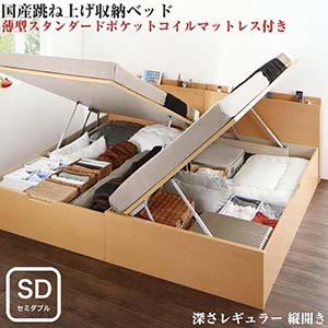 お客様組立 国産 跳ね上げ式ベッド 収納ベッド Renati-NA レナーチ ナチュラル 薄型スタンダードポケットコイルマットレス付き 縦開き セミダブル 深さレギュラー(代引不可)