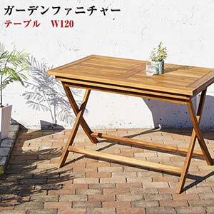 チーク天然木 ガーデンファニチャー Nobilis ノビリス テーブル W120(代引不可)