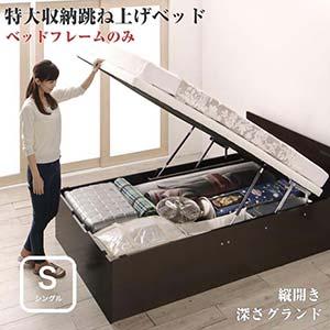 お客様組立 跳ね上げ式ベッド トランクルーム級 特大収納 収納ベッド T-space ティースペース ベッドフレームのみ 縦開き シングルサイズ 深さグランド(代引不可)(NP後払不可)