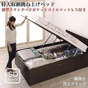 お客様組立 跳ね上げ式ベッド トランクルーム級 特大収納 収納ベッド T-space ティースペース 薄型スタンダードポケットコイルマットレス付き 縦開き セミダブルサイズ 深さグランド(代引不可)(NP後払不可)