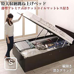 お客様組立 跳ね上げ式ベッド トランクルーム級 特大収納 収納ベッド T-space ティースペース 薄型プレミアムポケットコイルマットレス付き 縦開き シングルサイズ 深さグランド(代引不可)(NP後払不可)