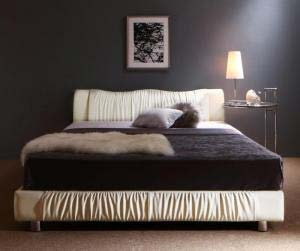 照明付き コンセント付き モダンデザイン ベッド Vesal ヴェサール スタンダードポケットコイルマットレス付き ダブルサイズ