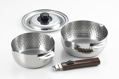日本製 取っ手が外せる雪平鍋2点セット 16 18cm 未使用 ご予約品 カチャッと雪平2点セット