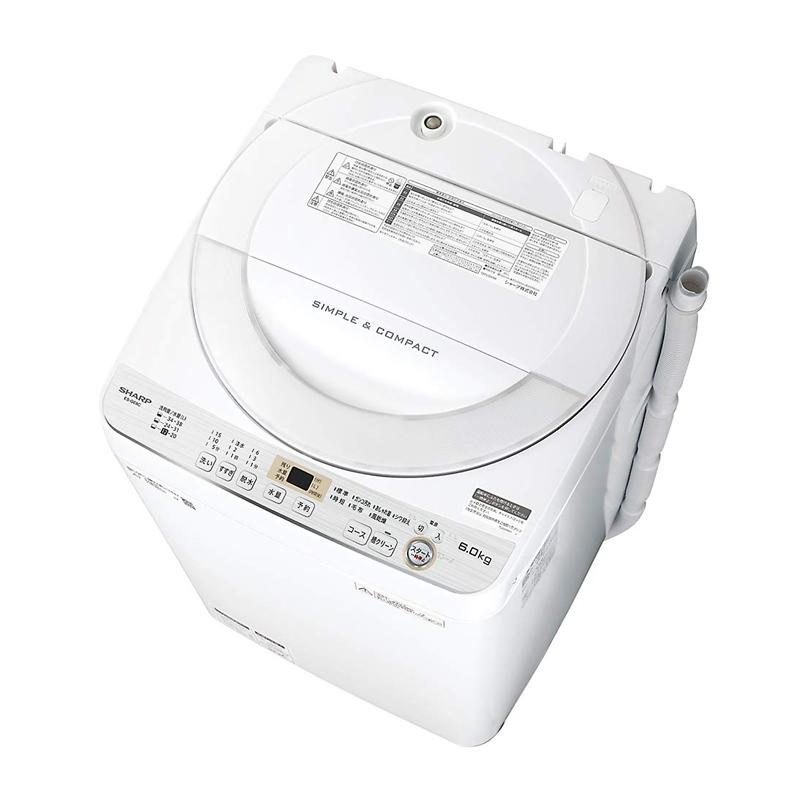 シャープ SHARP 全自動洗濯機 一人暮らし 幅56.5cm 6kg ステンレス穴なし槽 ホワイト系 ES-GE6C-W