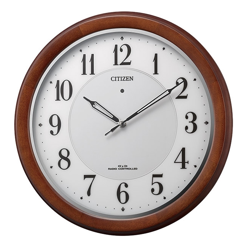 【8/15はエントリー&カード決済でポイント7倍】リズム時計工業 Rhythm 掛け時計 シチズン φ34.0×4.5cm 電波時計 ソーラー補助電源 ブラウン 4MY852-006