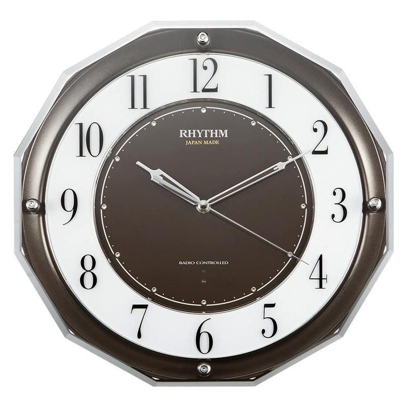 【8/15はエントリー&カード決済でポイント7倍】リズム時計工業 RHYTHM 電波掛け時計 リーウェイブM846 茶メタリック 4MY846SR06