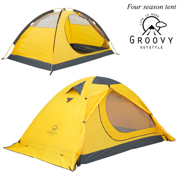 登山用テント ツーリングテント 4シーズン 2人用 2重構造 ダブルウォールテント 冬でも暖かい 210×140cm 前室付 ツーリング 大きい 収納袋 出口2ヶ所 自立式 高品質ペグ 軽量3kg フォーシーズンテント ソロキャンプ 山岳テント 2018Nov