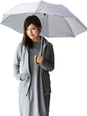 Traditional Weatherwear(トラディショナル ウェザーウェア) 折りたたみ傘(日傘兼用)(ストライプ)