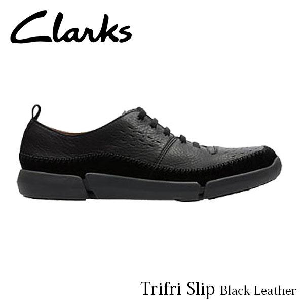 CLARKS クラークス シューズ メンズ Trifri Slip 26127203 Black Leather CLA26127203 国内正規品