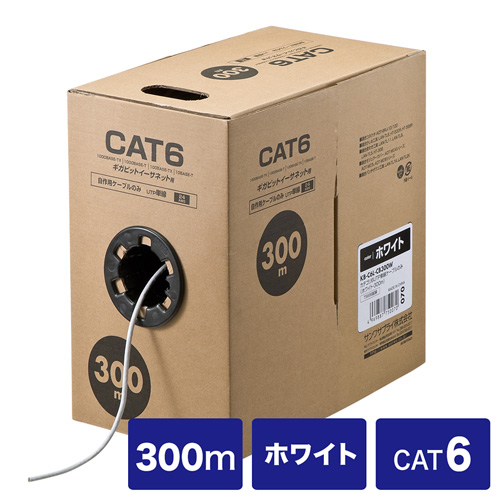 自作用エンハンスドカテゴリCAT6UTP単線ケーブルのみ 300m ホワイト KB-C6L-CB300W サンワサプライ