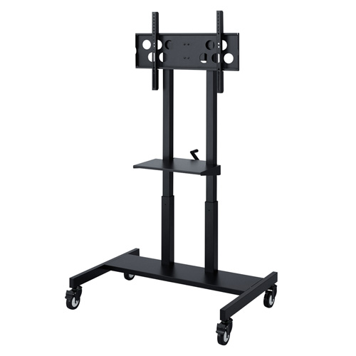【アウトレット】 テレビスタンド(液晶・上下昇降・ディスプレイ・モニター・移動式・キャスター・大形・棚板付・55~65型対応・手動) out-CR-PL26BK