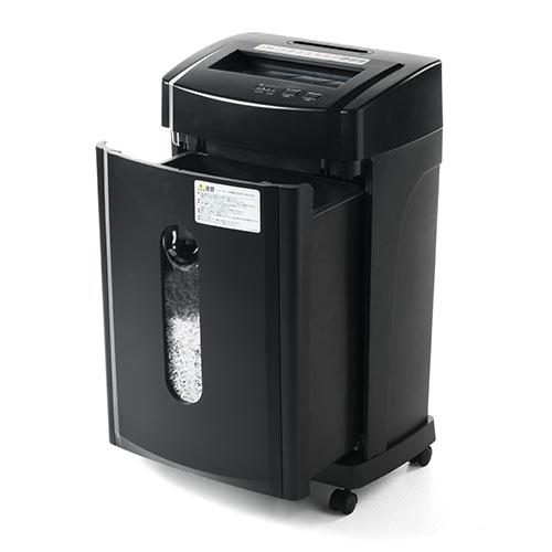 電動シュレッダー マイクロクロスカット A4 ホッチキス対応 CD/DVD/カード細断対応 12枚細断 15分連続使用 400-PSD028 サンワサプライ