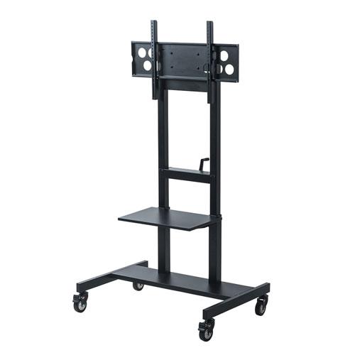 【アウトレット】 テレビスタンド(液晶・上下昇降・ディスプレイ・モニター・移動式・キャスター・大型・棚板付・55~65型対応・手動)out-CR-PL30BK