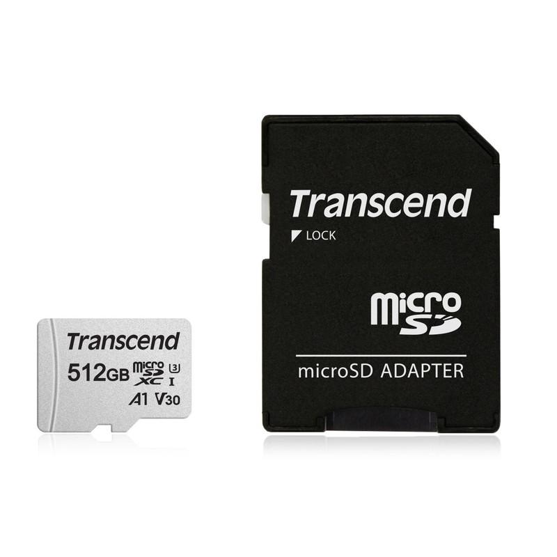 microSDカード 512GB Class10 UHS-I U3 UHS-I U1 V30 A1 SD変換アダプタ付き microSDXC 長期保証 トランセンド TS512GUSD300S-A 【ネコポス対応】