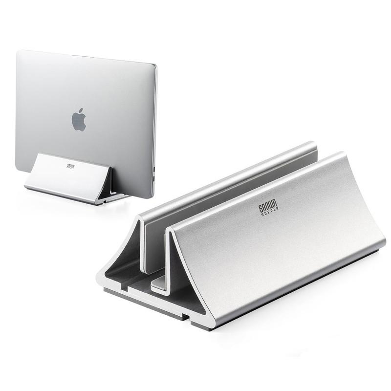 新品 高品質新品 ノートパソコンを外部ディスプレイに接続して使用する クラムシェルモードに最適なクラムシェルスタンド アルミ筐体で設置する幅も調整可能 ノートパソコンスタンド クラムシェルスタンド MacBook 200-STN034 アルミ スマホスタンド サンワサプライ 幅調節可 縦置き 売店