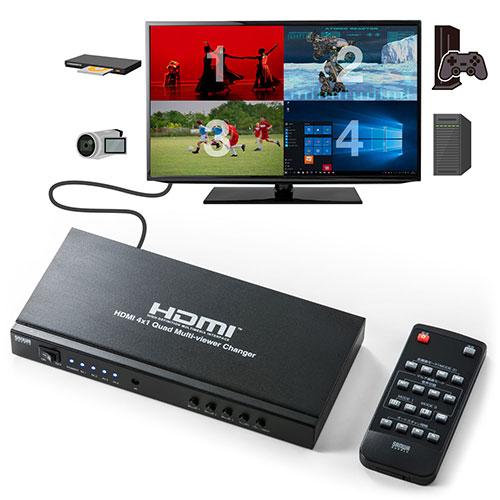 新品 ポイント5倍 オリジナル 大特価 ~7 26 月 まで HDMI画面分割切替器 4画面分割 マルチビューワー フルHD対応 リモコン サンワサプライ 1出力 4入力 400-SW030 ACアダプタ付属 オートスキャン機能搭載